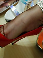 shaved blonde stockings heels