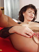 latina in pink stockings