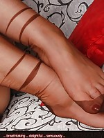 teen in tan stockings
